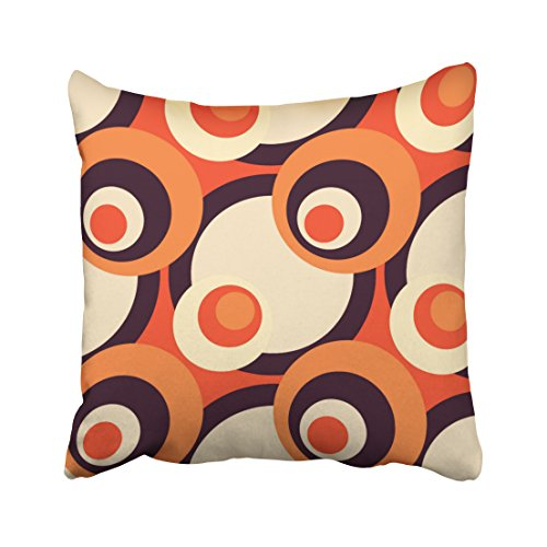 Emvency Square 20x20 Inches Decorative Pillowcases art retro orange and brown fifties abstract art Cotton Polyester Decor Throw Pillow Cover With Hidden Zipper For Bedroom - Orange Retro 50