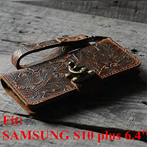 Handmade Genuine Leather Retro Book Style for Samsung Galaxy s10 plus 6.4 inches Leather Wallet Case