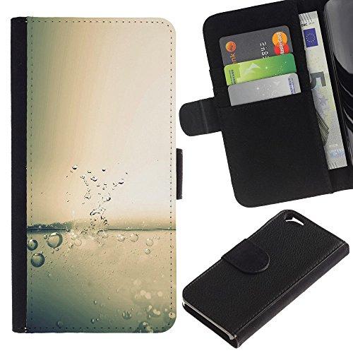 Funny Phone Case // Cuir Portefeuille Housse de protection Étui Leather Wallet Protective Case pour Apple Iphone 6 /Water Drop Splash/
