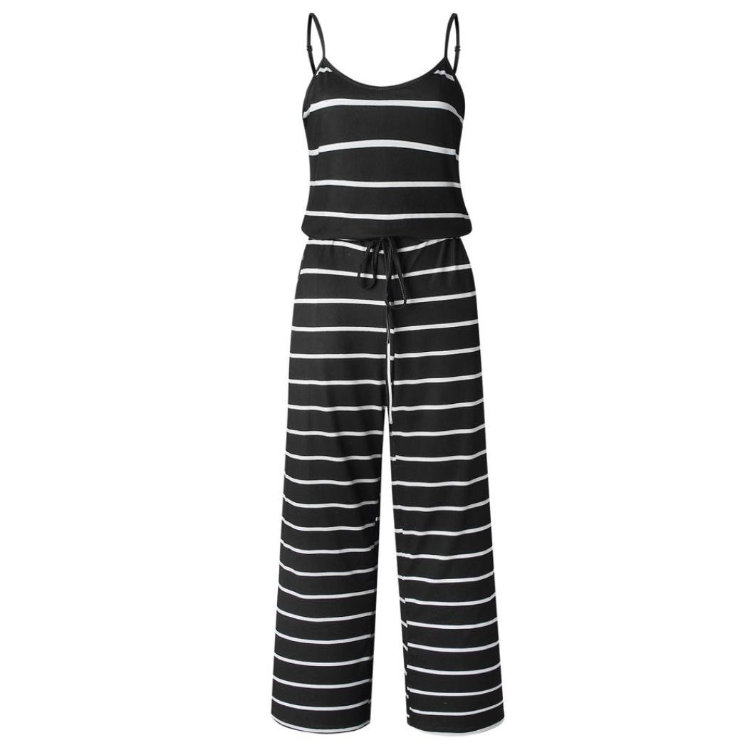 062e30167dc9 Amazon.com  Rambling Fashion Women s Comfy Striped One Piece Jumpsuit Loose  Sleeveless Wide Leg Long Pants Romper  Clothing