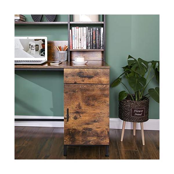 VASAGLE Bureau, Table, avec étagères de Rangement, Placard et tiroir, Bureau àdomicile, Montage Facile, Cadre en Acier…