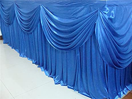 Bon HAORUI 6 Meters Royal Blue Ice Silk Banquet Table Skirt With Swag Ruffled Table  Skirting For