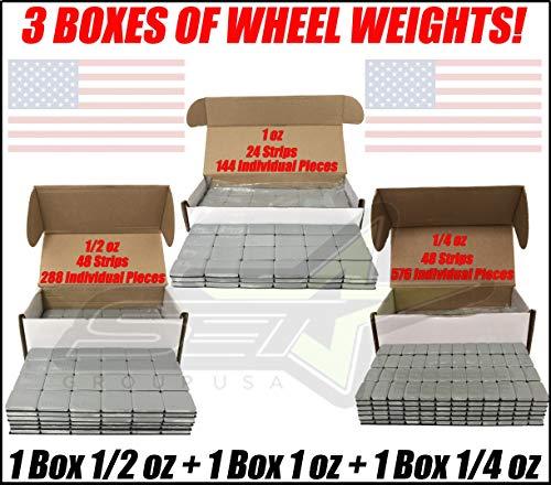 SET Group USA 3 Boxes of Wheel Weights 1/4oz + 1/2oz + 1oz Stick-On Adhesive Tape Total 27 LB ()