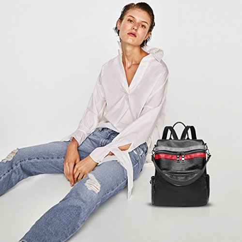 NICOLE&DORIS Neu Mode Schön Damen Rucksack Schulrucksack Reisen Daypacks Tasche Outdoor Wasserdicht Dauerhaft Weich PU Schwarz 6B wY46EXImL