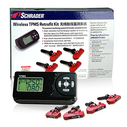 (Schrader SCH-BRK-4PC TPMS Retrofit Kit For Passenger Car and Light Truck (Wireless-Battery Operated Display))