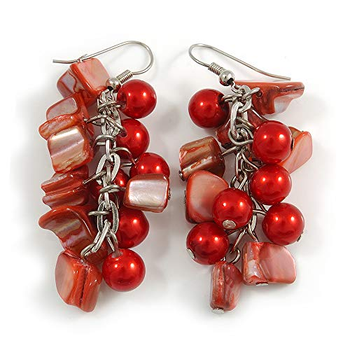 Red Glass Bead, Shell Nugget Cluster Dangle/Drop Earrings In Silver Tone - 60mm Long