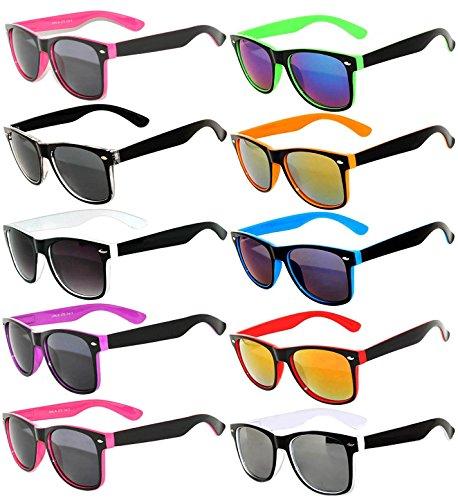 Stylish Retro Vintage Two Tone Sunglasses with Smoke Lens (10_Pack - Smoke_Lens_Mirror_Lens, - Sunglasses Men For Stylish