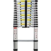 Aluminum Telescoping Ladder 12.5 FT Professional Heavy Duty Extendable Telescope Light Weight Multi-Purpose - 330 LB Capacity