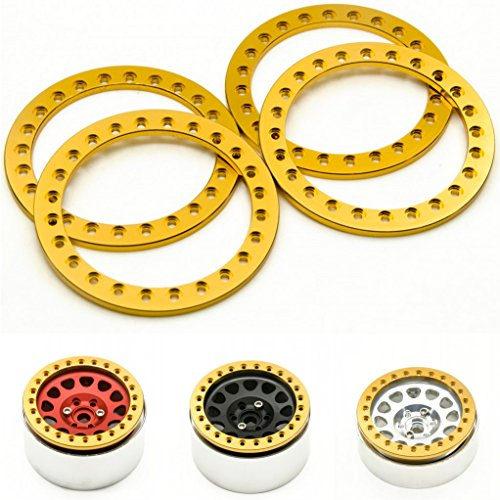 2.2 Beadlock Ring (RCLIONS 4pcs Gold Aluminum Replacement Wheel Rim Beadlock Ring for 1:10 Crawler Wraith RC Car 2.2