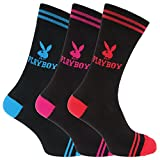 Playboy Official Mens Logo Design Cotton Rich Casual Socks (Pack Of 3) (7-12 US) (Blue/Pink/Red)