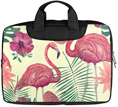 13 Inch Vintage Watercolor Tropic Flamingo Pineapple Flowe Printed Laptop Briefcase with Handle Lightweight Protective Laptop Case Fits MacBook Air Pro