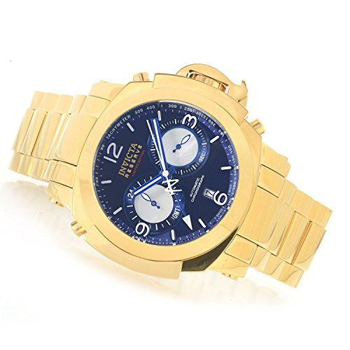 Invicta Mens Reserve Man of War Swiss Made Dubois Depraz DD 2055 Automatic Chronograph GMT Gold Tone Stainless Steel Bracelet Blue Dial Watch
