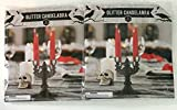 Pair of Two Black Halloween Glitter Candelabra - Haunted House