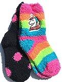 Unicorn Sequin Stripes & Polka-Dots Fuzz Crew Socks 2 Pair Medium 7.5-3.5