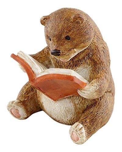 Top Collection Miniature Fairy Garden and Terrarium Baby Bear Reading Statue