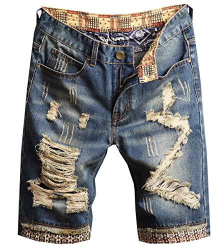 - QZH.DUAO Men's Denim Shorts, Ripped Distressed Destroyed Broken Hole Denim Jean Shorts for Men, 8# Denim Blue, US 28 = Tag 29