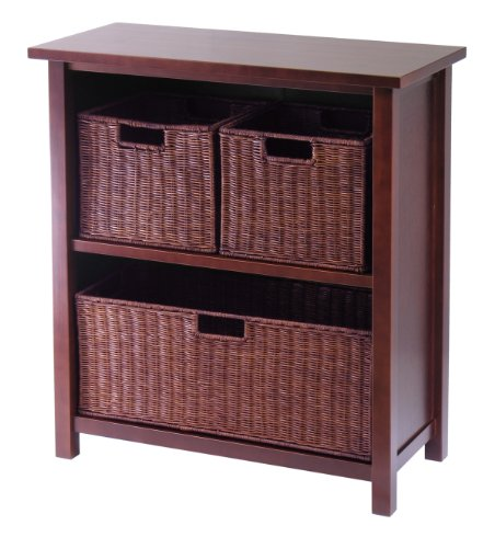 Winsome Wood Milan Wood 3 Tier Open Cabinet in Antique Walnut Finish and 3 Rattan Baskets in Espresso Finish (Wide Bookcase Rattan)