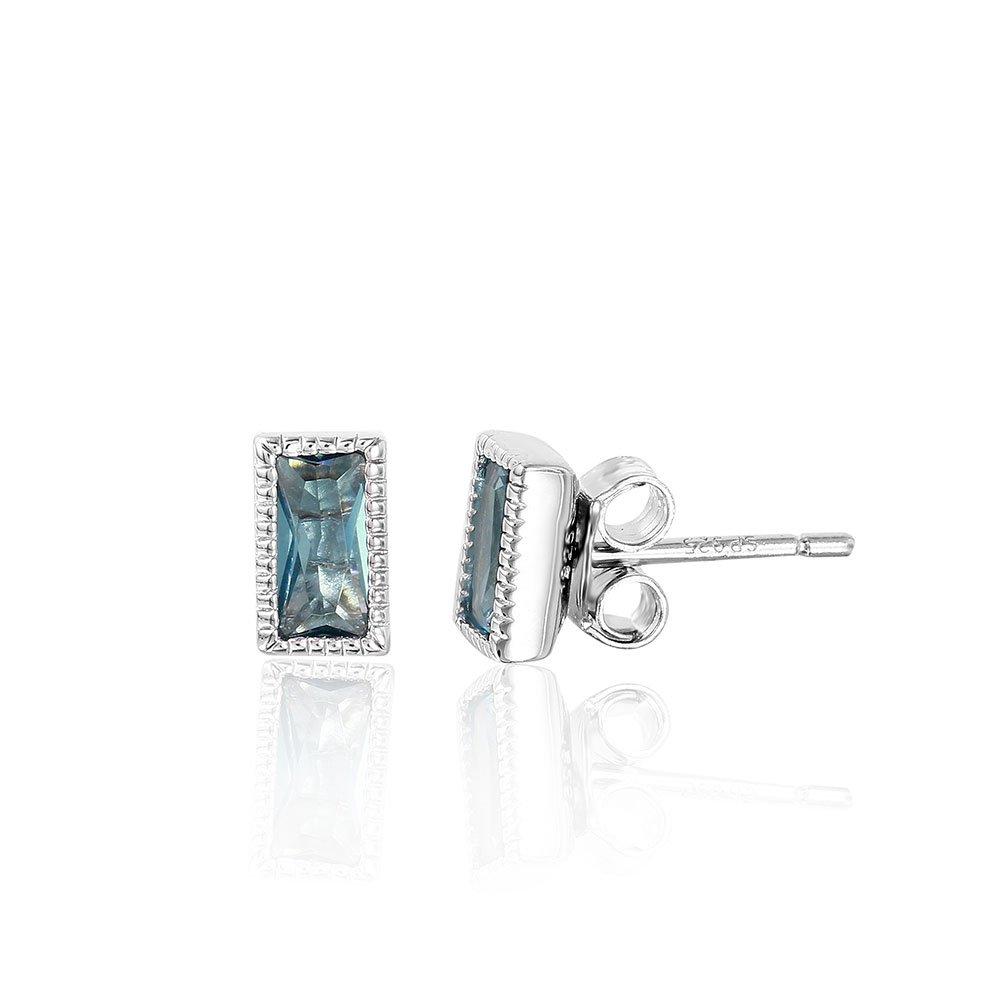 Blue Bezel Set Cubic Zirconia Beaded Rectangle Stud Earrings Rhodium Plated Sterling Silver
