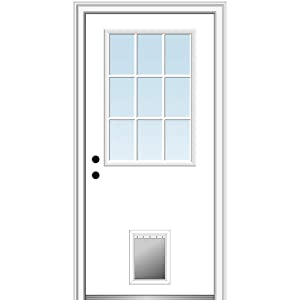 "National Door Company ZZ00762R Steel Primed, Right Hand in-Swing, Prehung Front Door, 9 Lite with Pet Door, Clear Glass, 32"" x 80"""