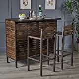 Christopher Knight Home 303817 Lorelei Indoor Dark Brown Acacia Bar Set with Rustic Metal Finish Accents