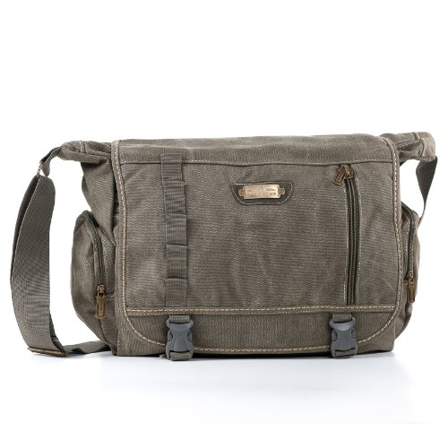 SOS Messenger Bag School, Multifunctional Canvas Shoulder Bag for Work, Students, and Messenger Diaper Bag for Moms and Dads - Prairie by Seed of Solace