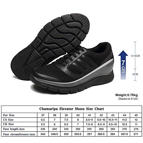 CHAMARIPA Mens Elevator Laufschuhe Sport Athletic Trainer Sneakers Schwarz-Taller 7cm/2,76- X63B19