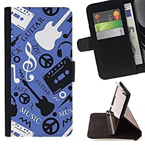- Music Guitar Hippy Pattern/ Personalized Design Custom Style PU Leather Case Wallet Flip Stand - Cao - For HUAWEI P8 Lite
