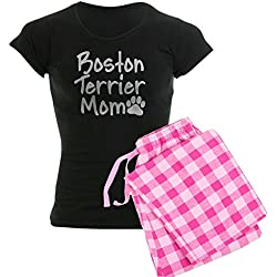 CafePress - Boston Terrier MOM Women's Dark Pajamas - Womens Novelty Cotton Pajama Set, Comfortable PJ Sleepwear