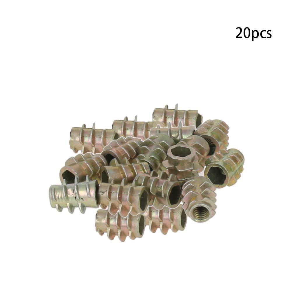 MroMax 50pcs M4x8mm Hex Socket Threaded Insert Nuts Zinc Alloy Bronze Tone for Wood Furniture