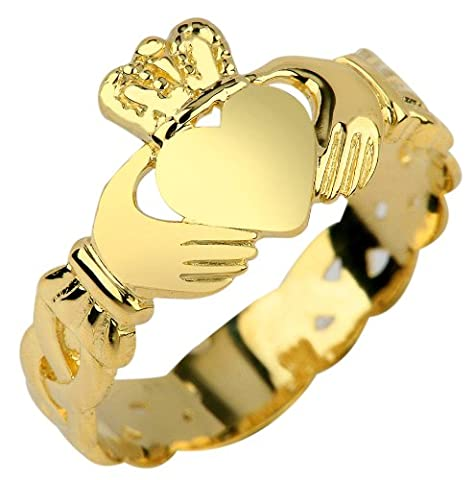 Ladies 10K Yellow Gold Claddagh Ring with Trinity Band (4) (Womens Gold Claddagh Ring)