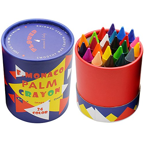 Toddler Crayons, Pack of 24 Non Toxic Crayons, Easy to Hold Toddler Large Crayons, Safe for Kids and Children Flower Monaco