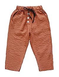MFrannie Girls Flax Cotton Cool Summer Elastic Waist Capri Pants