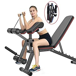 EXF Weight Bench with Leg Extension and Leg Curl,Strength Training Bench for Full Body Workout Bench