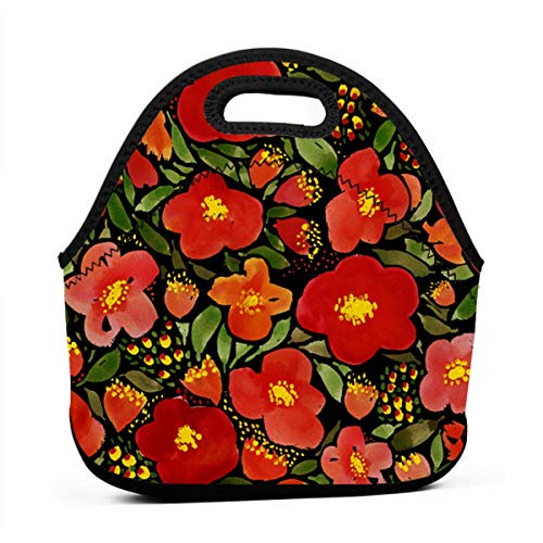 DJUQBWKP Watercolor Red Poppy Flower Portable Lunch Bags,Reusable Picnic Bag -for Adults, Women, Girls, School Children - Suitable for Travel, Picnic, Office (Small)
