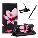 Leather Case for iPhone 7 Plus,Flip Wallet Cover for iPhone 8 Plus,Herzzer Stylish Pink Lotus Pattern Magnetic Closure Purse Folio Smart Stand Cover with Card Cash Slot Soft TPU Inner Case for iPhone 7 Plus/iPhone 8 Plus 5.5 inch + 1 x Free Black Cellphone