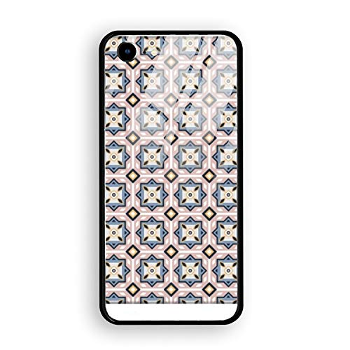 Arabic Tiles Pattern iPhone 7 Tempered Glass Case Ultra Thin Anti-Fingerprint Hard PC Back + Soft TPU Anti-Slide Cover for iPhone -