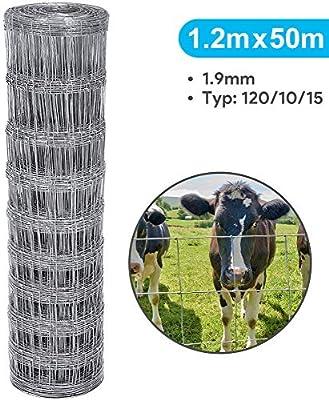 Amagabeli 50m Malla de Alambre Valla De Jardín 120/10/15 Galvanizada Valla de Salvaje Pesado de Alta Resistencia Malla Metálica Anudada Red Alambre Protección para Ovejera Ganadera Granja HC07: Amazon.es: Bricolaje y herramientas