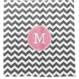Pink and Gray Chevron Shower Curtain Gray and Pink Chevrons with Custom Monogram Shower Curtain Shower Curtains for Bathroom 36 x 72 inch, with 7 Hooks