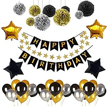 Weimi Black And Gold 18th Birthday Decorations For Men Inflating Foil Star Balloon DIY Paper Pom