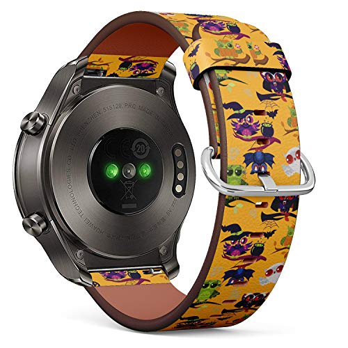 S-Type Quick Release Leather Bracelet Watch Band Strap Replacement Wristband Compatible for Huawei Watch 2 Classic - Cartoon Halloween Owl]()