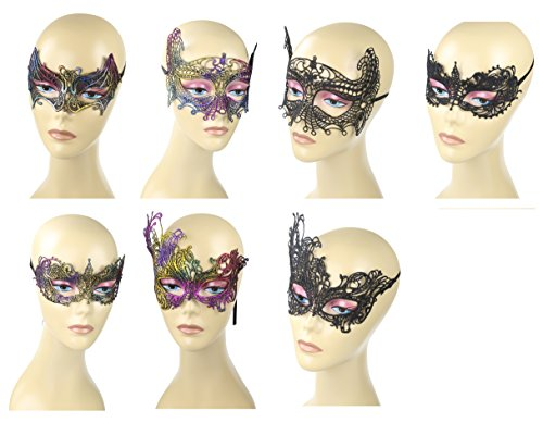 [7/pcs,Chromatic Lace Masquerade Mask Set, Perfect for Halloween,Valentine's Carnivals, Masquerade, Mardis gras,Night Club,Costume Cosplay] (Simple Halloween Masks)