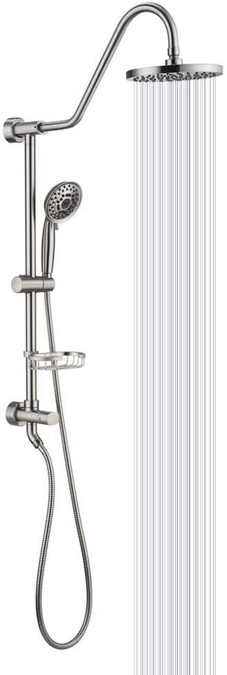 "Shower System with 8"" Rain Showerhead, Homelody 5-Function Hand Shower, Adjustable Dish, Brushed Nickel"