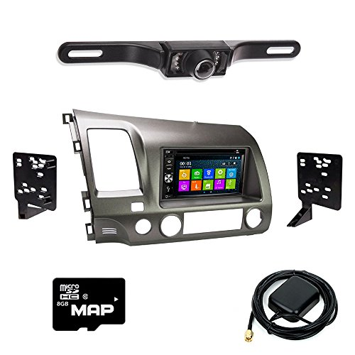 Otto Navi DVD GPS Navigation Multimedia Radio and Dash Kit for Honda Civic 2006-2011 Taupe with Back up camera and extra Gps Navigation System Kit