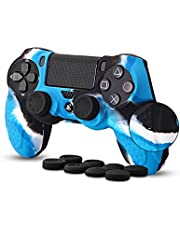 Anti-slip Silicone Skin Cover Protector Case compatible with PS4/PS4 Slim/PS4 Pro Controller with 8 Thumb Grips
