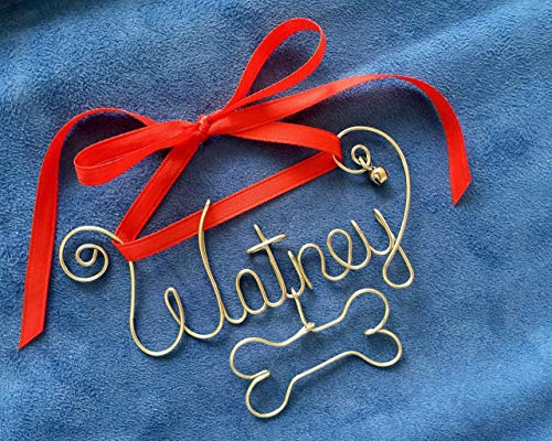 Personalized Gold or Silver Wire Name Christmas Ornament with Bone, Pet Lover Gift~Dog Name~Any Name~2, 3, 4 Names possible~with Year, Date 2018 option~The Original~Dog~Cat