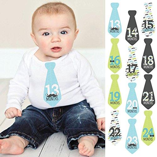 Dashing Little Man Mustache - Tie Baby Boy Second Year Monthly Sticker Set - Baby Shower Gift Ideas -13-24 Months Necktie Stickers