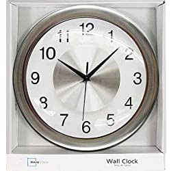 12 Mainstays Wall Clock, Brushed Chrome