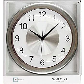 "12"" Mainstays Wall Clock, Brushed Chrome"