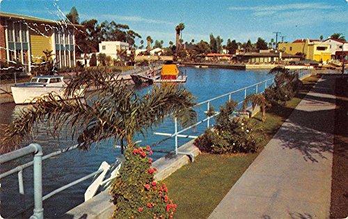 Long Beach California scenic canal view near Belmont Shore vintage pc - Shore Beach Long Belmont California