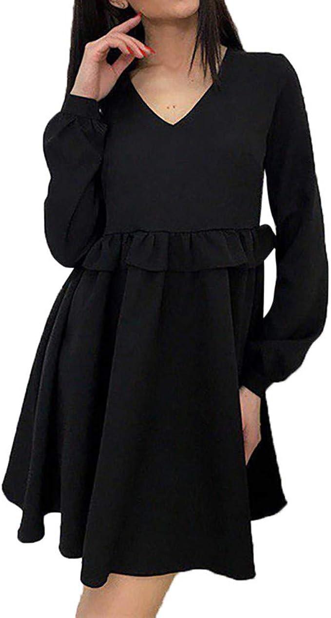 MRULIC Damen Floral High Waist V-Ausschnitt Neckholder Minikleid